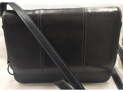 Klopnová kožená taška Silvercase - tmavě modrá