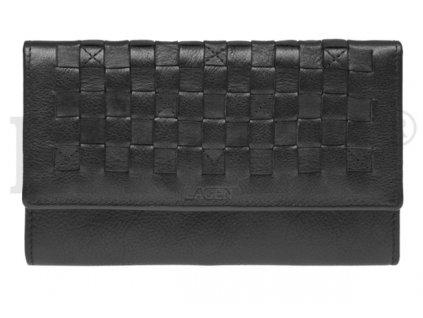 Černá kožená peněženka s kostičkou
