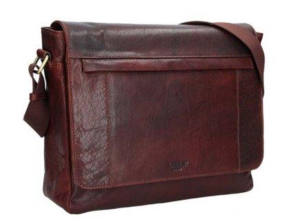 Kožená taška na notebook přes rameno Lagen - hnědá TAN