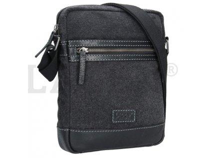 Koženo-textilní taška přes rameno - černošedá