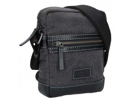 Menší koženo-textilní taška přes rameno - černošedá