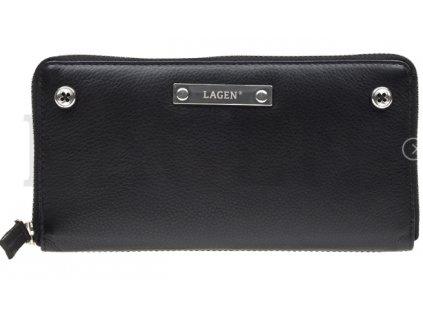 Černá penálová peněženka Lagen s knoflíčky