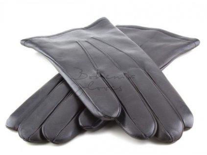 Klasické černé pánské kožené rukavice s podšívkou