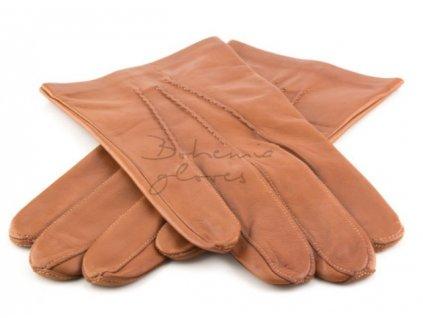 Klasické pánské kožené rukavice s podšívkou - cognac