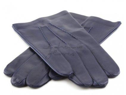 Klasické pánské kožené rukavice s podšívkou - modrá