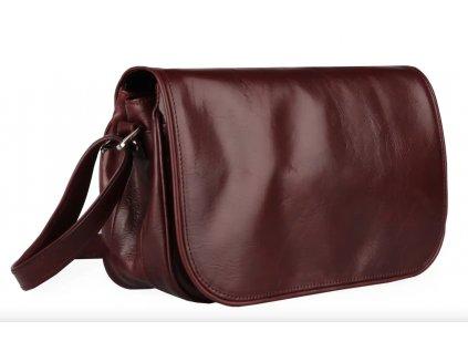 Klopnová kožená kabelka Silvercase - bordo