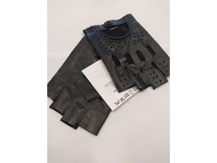 Kožené bezprsté řidičské rukavice Bohemia gloves - černé