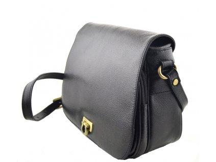 Klopnová kabelka kožená Hexagona - černá