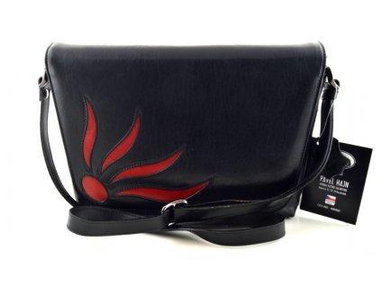 Originální klopnová kožená taška Hajn - černočervená