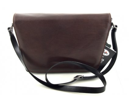 Originální klopnová kožená taška Hajn - černohnědá