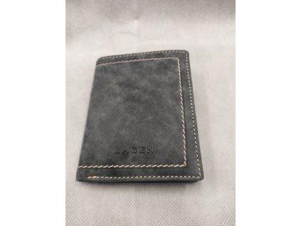Kožená peněženka Lagen s prošitím - modrá mramor