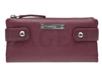 Kožená rozevírací peněženka Lagen - vínová