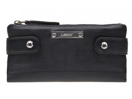 Kožená rozevírací peněženka Lagen - černá