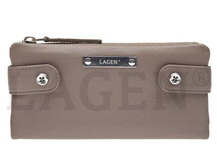 Kožená rozevírací peněženka Lagen - šedá