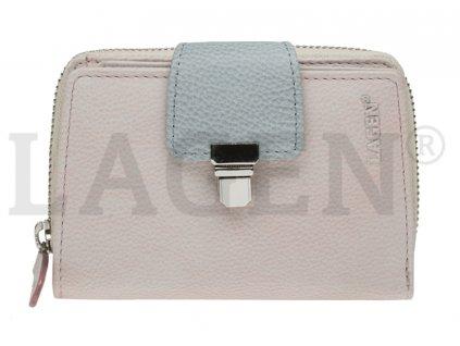 Kožená peněženka Lagen - růžovošedá