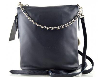 Kožená elegantní kabelka FACEBAG - tmavě modrá
