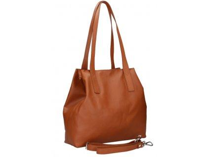 Dámská kožená kabelka FACEBAG HOLLY - Cuoio hladká