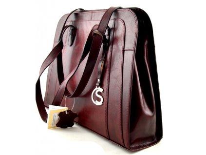 Velká manažerská kožená kabelka Silvercase - rubín