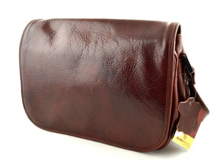 Klopnová kožená kabelka Silvercase - kaštan