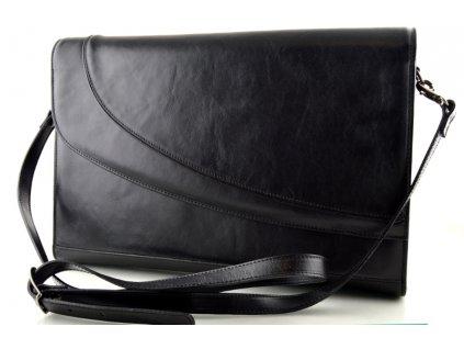 Klopnová kožená kabelka Hajn - černá