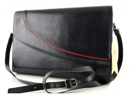 Klopnová kožená kabelka Hajn - černá s červenou vlnkou