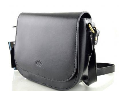 Klopnová kožená kabelka Katana - černá