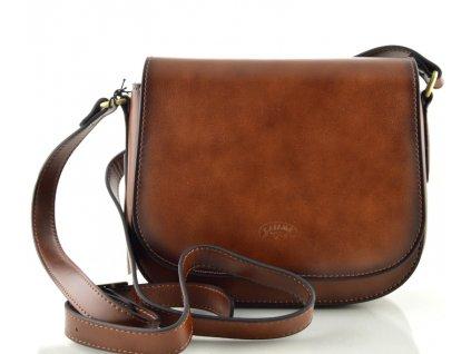 Klopnová kožená kabelka Katana - hnědá