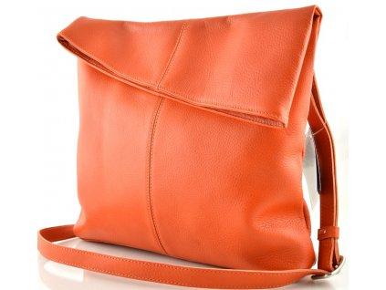Klopnová kožená kabelka Hajn - oranžová