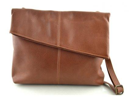 Klopnová kožená kabelka Hajn - hnědá