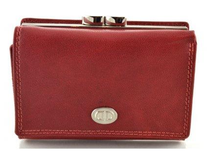 Kožená dámská peněženka DD s rámečkem na mince - červená