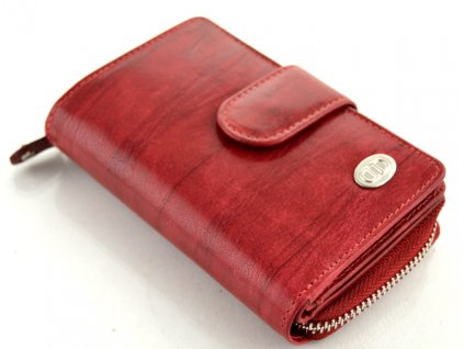 Kožená peněženka DD s přezkou - červená