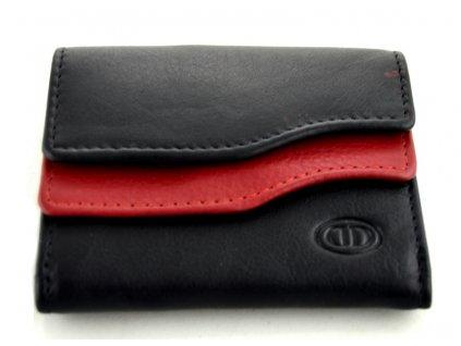Mini kožená peněženka DD - černo červená