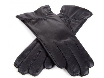 Dámské kožené rukavice s ražbou Bohemia Gloves - černé