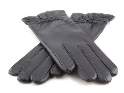 Dámské kožené rukavice s ražbou - černé