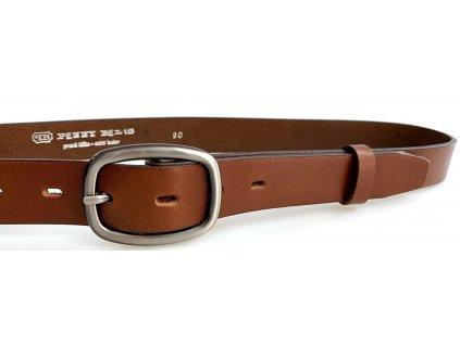 Hnědý 3cm kožený dámský opasek Penny Belts