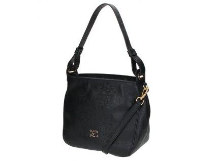 Malá kožená kabelka Elega Casual černá/zlato