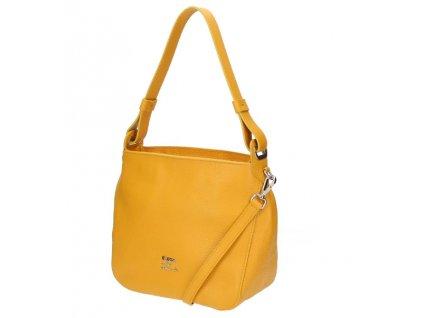 Malá kožená  kabelka Elega Casual žlutá