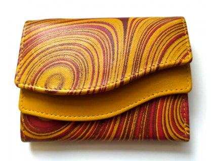 Mini kožená peněženka DD - žlutá žíhaná