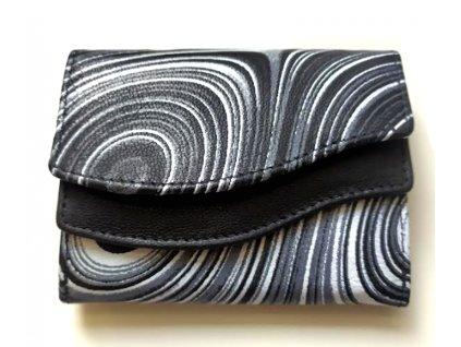 Mini kožená peněženka DD - černá žíhaná