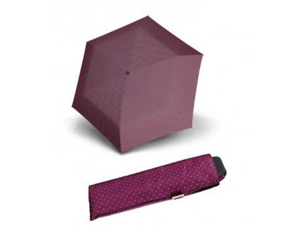 Deštní Doppler placatý carbonsteel mini slim - vínový puntík