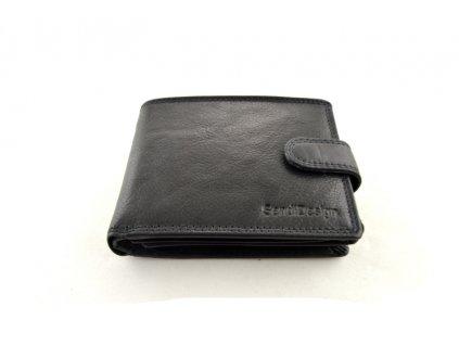 Černá kožená peněženka s přezkou SendiDesign