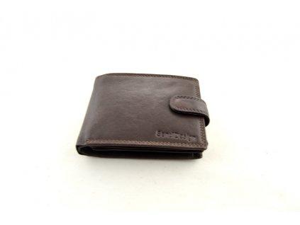 Tmavě hnědá kožená peněženka s přezkou SendiDesign