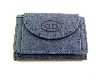 Mini kožená peněženka DD - modrá