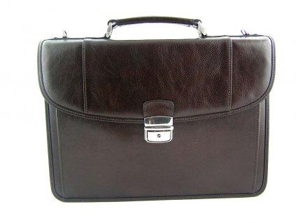Luxusní kožená aktovka Silvercase z italské kůže - tmavě hnědá