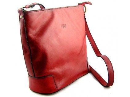 Kožená taška přes rameno Katana - červená
