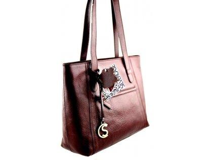 Nadčasová kožená kabelka Silvercase - vínová