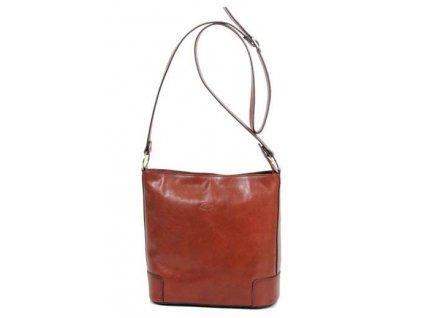 Kožená taška přes rameno Katana - hnědá