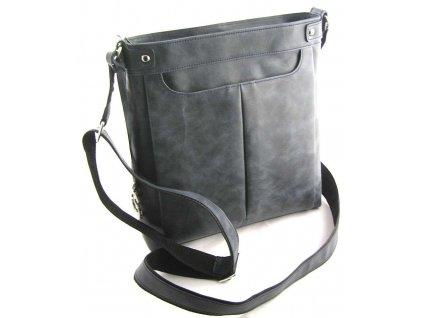 Velká dámská kožená taška přes rameno Silvercase - modrá