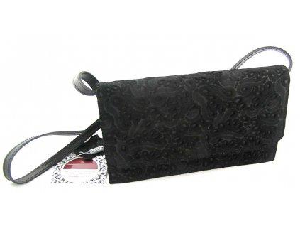 Klopnové kožené psaníčko s ražbou - černé