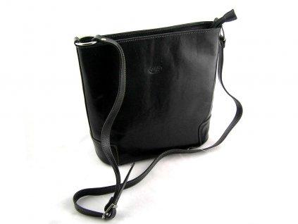 Kožená taška přes rameno Katana - černá